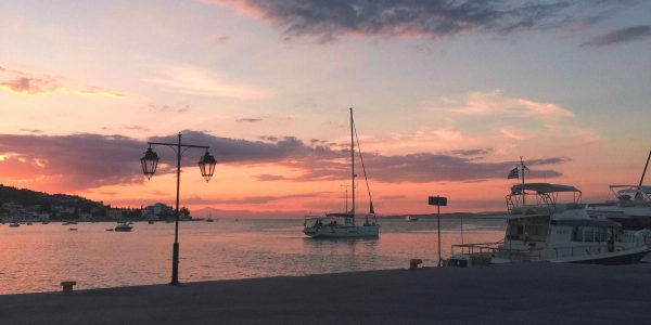 Tramonto a Spetses, isola greca di fronte a Porto Heli
