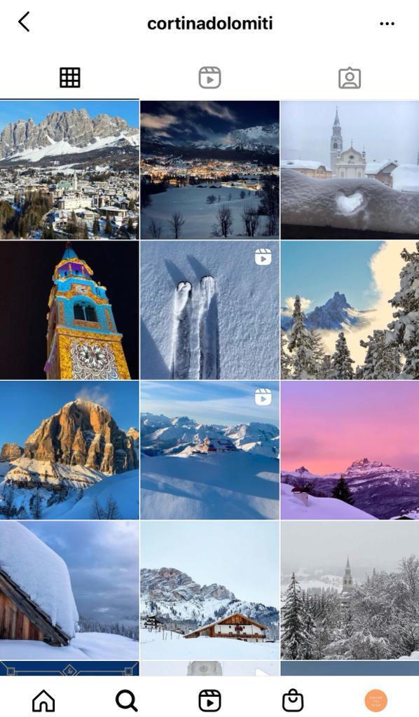 cortina d'ampezzo su instagram